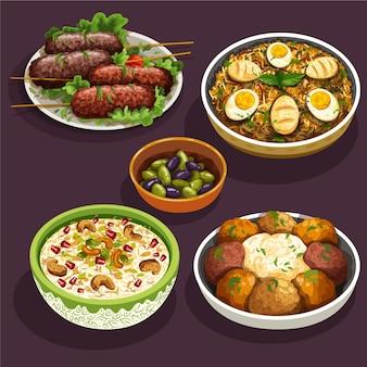 Hand getekend iftar maaltijd elementen collectie