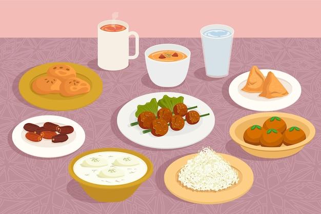 Hand getekend iftar maaltijd illustratie