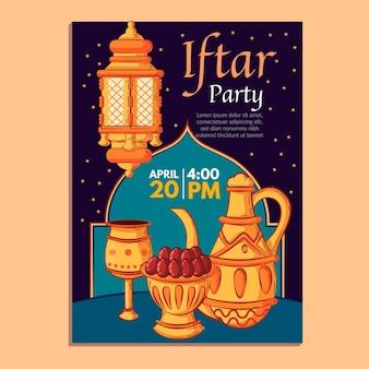 Hand getekend iftar verticale poster sjabloon