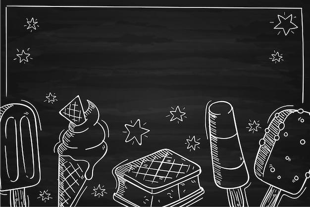 Hand getekend ijs schoolbord achtergrond