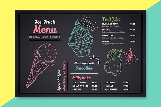 Hand getekend ijs schoolbord menu
