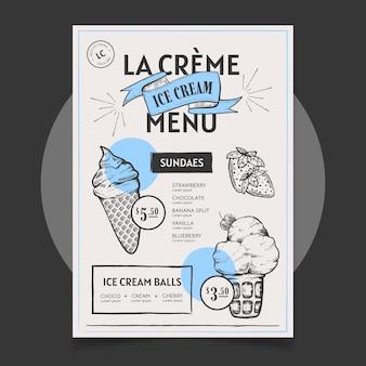 Hand getekend ijs schoolbord menusjabloon