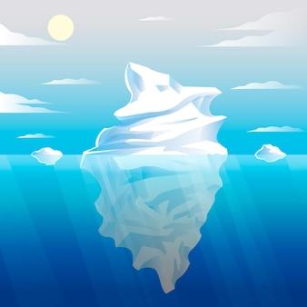 Hand getekend ijsberg illustratie