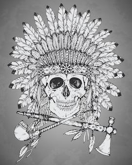 Hand getekend indiase hoofdtooi met menselijke schedel, tomahawk en calumet