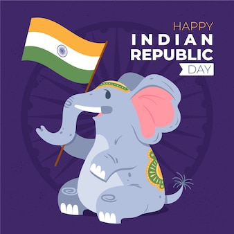 Hand getekend indiase republiek dag achtergrond