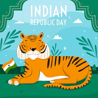 Hand getekend indiase republiek dag behang