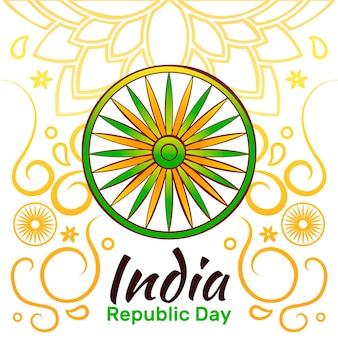 Hand getekend indiase republiek dag concept