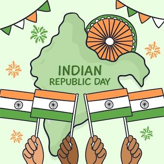 Hand getekend indiase republiek dag met kaart en vlaggen