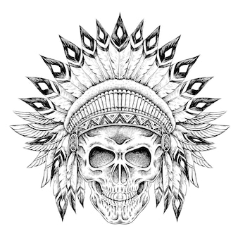 Hand getekend indiase stijl schedel in prachtige stijl