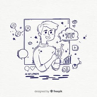 Hand getekend influencer jongen illustratie
