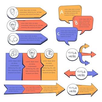 Hand getekend infographic element collectie