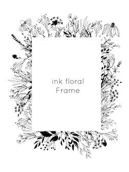 Hand getekend inkt bloemen frame. schets bloemen en bladeren