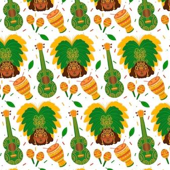 Hand getekend instrument braziliaans carnaval patroon