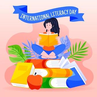 Hand getekend internationale alfabetisering dag achtergrond met meisje lezen