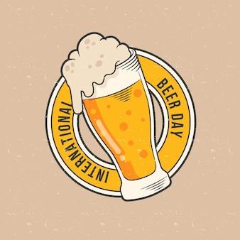 Hand getekend internationale bier dag concept