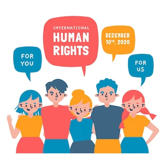 Hand getekend internationale dag van de mensenrechten