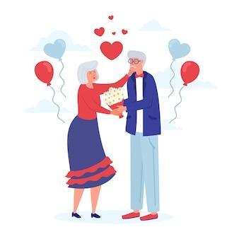 Hand getekend internationale dag van de ouderen achtergrond met grootouders