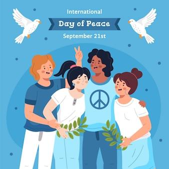 Hand getekend internationale dag van de vrede