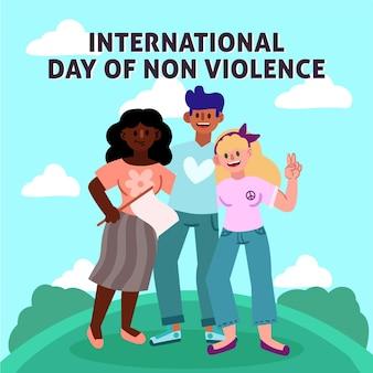 Hand getekend internationale dag van geweldloosheid