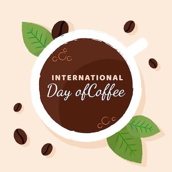 Hand getekend internationale dag van koffie achtergrond met mok