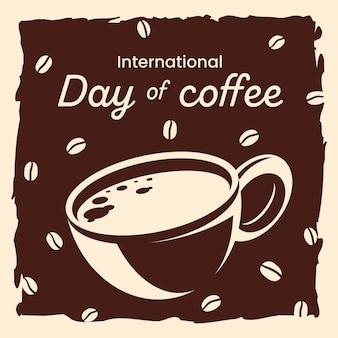 Hand getekend internationale dag van koffie achtergrond