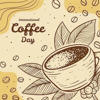 Hand getekend internationale dag van koffie illustratie