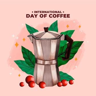 Hand getekend internationale dag van koffie met franse perskoffiekan
