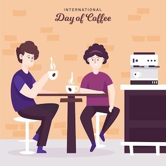 Hand getekend internationale dag van koffie met mensen