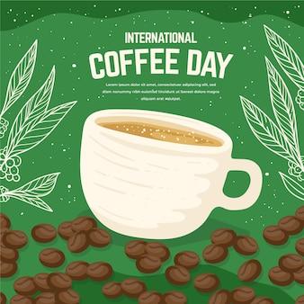 Hand getekend internationale dag van koffie