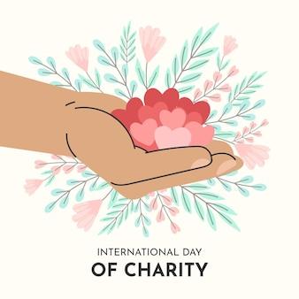 Hand getekend internationale dag van liefdadigheid achtergrond