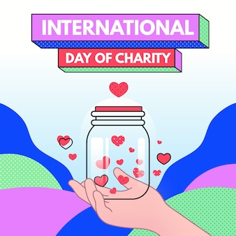 Hand getekend internationale dag van liefdadigheid illustratie