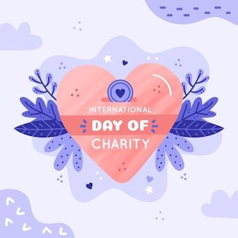 Hand getekend internationale dag van liefdadigheid met hart