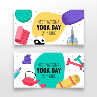 Hand getekend internationale dag van yoga banner