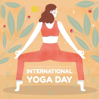 Hand getekend internationale dag van yoga illustratie