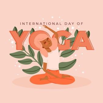Hand getekend internationale dag van yoga
