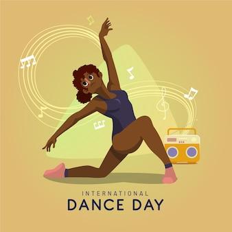 Hand getekend internationale dansdag illustratie