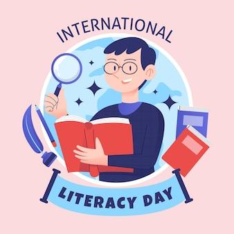Hand getekend internationale geletterdheid dag concept