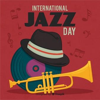 Hand getekend internationale jazz dag achtergrond