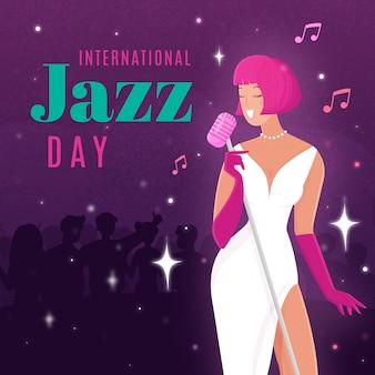Hand getekend internationale jazz dag concept