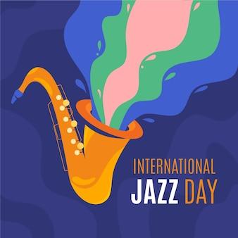 Hand getekend internationale jazz dag illustratie