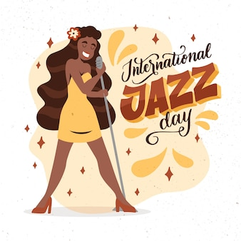 Hand getekend internationale jazz dag illustratie