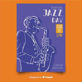 Hand getekend internationale jazz dag poster sjabloon