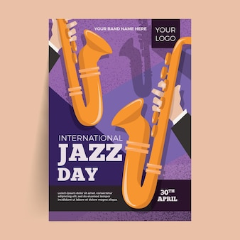 Hand getekend internationale jazz dag poster sjabloon