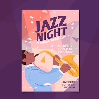 Hand getekend internationale jazz dag verticale poster sjabloon
