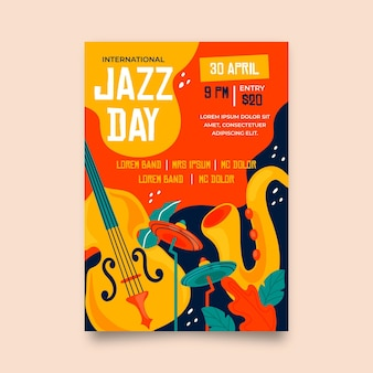 Hand getekend internationale jazz dag verticale poster sjabloon