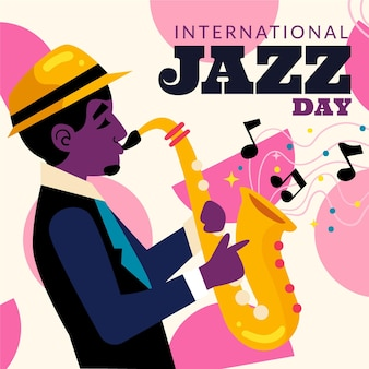 Hand getekend internationale jazzdag illustratie