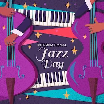 Hand getekend internationale jazzdag illustratie