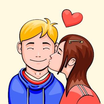 Hand getekend internationale kussende dag illustratie met kussend koppel