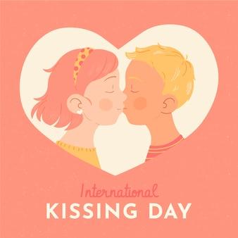 Hand getekend internationale kussende dag illustratie