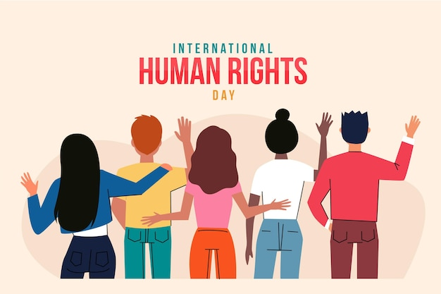 Hand getekend internationale mensenrecht dag illustratie